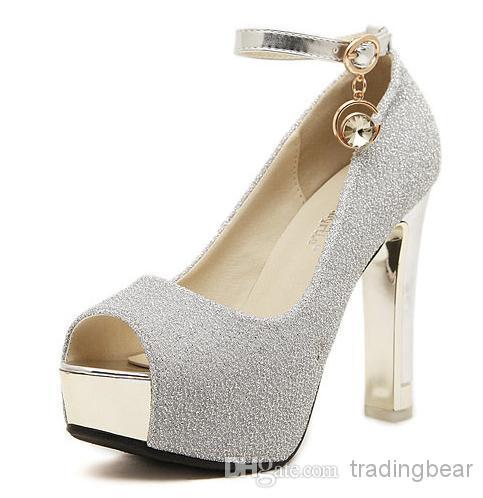Gorgeous Glitter Wedding Bride Shoes Silver Princess Shoes Ankle ...
