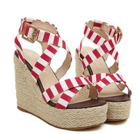 Women Wedge Straw 2014 Lena ViVi blue navy stripes sandals sweet straw woven high platform wedge sandals red crossover strappy ladies shoes