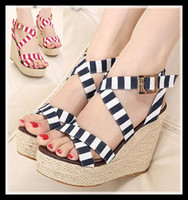 Cheap 2014 Lena ViVi blue navy stripes sandals sweet straw woven high platform wedge sandals red crossover strappy ladies shoes epacket