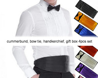 Wholesale cummerbunds set groom bow tie handkerchief gift box wedding colors