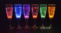Wholesale 6 CM Liquid active LED Champagne Glass light up LED Flash Champagne Glass Drink Cup LED Flash cup club bar wedding supply led color