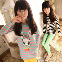 Girl Summer Long-Sleeved 2014 Spring- Autumn Girls New Clothes Wholesale spring children's e striped turtle neck T-shirt GW095 cute rabbit eyes