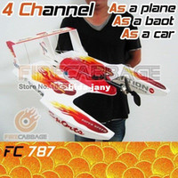 Airplanes Electric 2 Channel Free shipping - 4 Ch 3 in 1 Hydro-Glider RC flying Boat float palne Run through land,water,and air for wholesale
