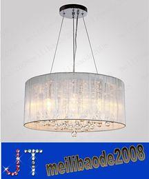 Promotion pendentifs en argent E12 40W gros cristal plaqué sous-plafond luminaire suspendu cylindre lumineux avec 4 lumières argent cylindre abat-jour HSA42