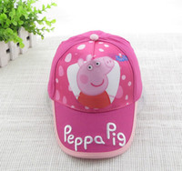 Wholesale Sweet Girl PEPPA PIG Children girls Cute Cartoon Hats Europe Polka Dots Pink Sisters Pig Child Toddler Kids Kid Baby Caps Velcro Cap F0250