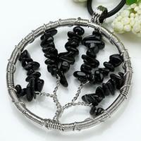 Pendant Necklaces South American Unisex Wholesale 20Pcs Fashion Natural Silver Plated Black Tourmaline Tree Shape Winding Jewelry Pendant