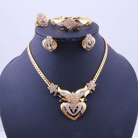 Wedding Jewelry Sets Celtic Gift Double Heart 18k Gold Plated Necklace Bracelets Earrings Ring ,Crystal Bridal Dress Jewelry Sets