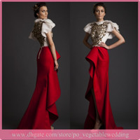 Wholesale 2014 V Krikor Jabotian Crew Sheath Chiffon Applique Sequin Hilo White And Red Ruched Prom Gown Formal Evening Dresses Cap Sleeves