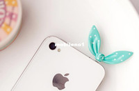 Earphone Jack Plugs 3.5 mm 6137 5pcs lot Free Shipping Cell Phone Accessories Cute Bunny Ear Dust Plug, Mix Order Available
