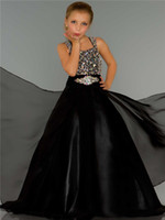 Wholesale Girl s Pageant Dresses Beaded Straps and Bodice Fitted Waist with Crystal Soft Flowing Chiffon with Fly Away Skirt Black Junior Formal Gowns