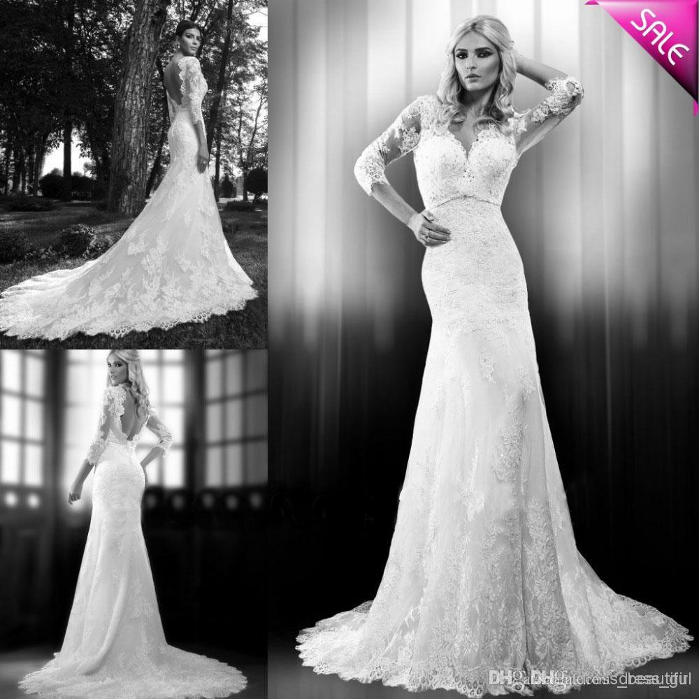 Wholesale 2014 vintage sweetheart mermaid backless lace for Www dhgate com wedding dresses
