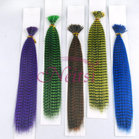 Wholesale Cheap colors quot Synthetic Rooster Grizzly Feather Hair Extensions I Tip Hair Patry Use Halloween Christmas Ponytail Hair