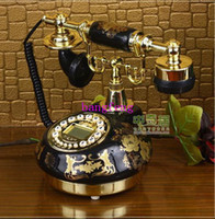 antique style telephone - European Style High Grade Black decor Ceramics Retro Antique Dial Telephone vintage retro cable decoration phone