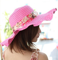Wholesale Sun hat Women Ladies Wide Large Brim Floppy Summer Beach Hat Sun Straw Hat Cap