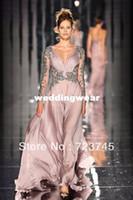 A-Line fashion in turkey - Abed Mahfouz Turkey Kaftan Dress in Fashion Sexy V Neck Beaded Chiffon Long Sleeve Evening Dress EDD307