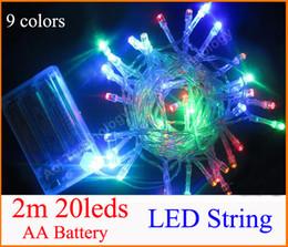 Luces de hadas blancas con pilas en Línea-3XAA Batería 2m 20 cuerda LED MINI HADA luces batería potencia operado blanco / caliente blanco / azul / rojo / amarillo / verde / rosa / purply / multi-color