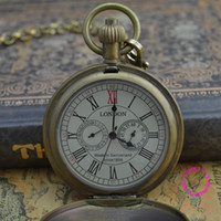 Antique classical pocket watch - Coupon for price good quality Vined classical classic Retro Copper Hands brass MECHANICAL London POCKET WATCH