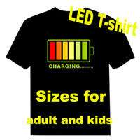 Wholesale 100pieces EL T shirt Sound Activated Flashing T shirt led t shirt EL T shirt EF241 Over logos by DHL