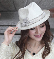 Wholesale Fashion Church Hat Women Dress Hat Dress Kentucky Derby Hat Ladies Polyester Satin White Hats FREE EMS Shipping