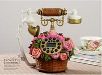 Wholesale 2014 New European Style High Grade Resin Flower Basket Retro Antique Telephone
