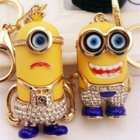 Wholesale Luxury D Despicable Me Minions keychain Action Figure Bling Fake Diamond Key chain Keyring Key Ring by DHL