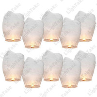 Wholesale 10pcs White Paper Chinese Lanterns Fire Sky Fly Candle Lamp for Birthday Wish Party Wedding