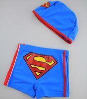 Boy Swim Trunks 2,3,4,5,6T Boys Superman Swimming Trunks with Cap Children's Swimwear Boxer Shorts