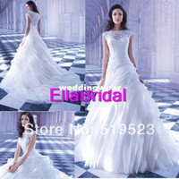 A-Line Reference Images V-Neck Unqiue Style A Line White Organza Lace Court Train High Neck Lace Organza Layered 2014 Demetrios Bridal Wedding Dresses GR251