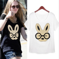 Wholesale 2014 New Arrival Women s O Neck Short Sleeves Appliques Sequined Character Street Style Fashion Cotton T Shirts