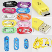 Wholesale 200PCS UP Colorful Micro Usb Cable V8 Data Sync and Charging Cords M M M for Samsung S6 S7