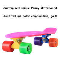 Wholesale DIY Color quot Penny Style Skateboard Complete Backpack mini Cruiser Retro long skates fish boards Girl Boy longboard