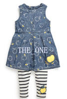 TuTu apple baby clothes - summer children s clothing sets baby girl denim dress baby girl denim dress pants suit Apple printing denim dress summer stripe pant baby