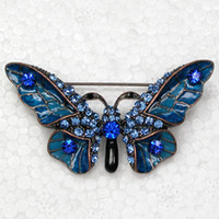 antique sapphire brooch - Antique Copper Sapphire Crystal Rhinestone Enameling Butterfly Brooches Fashion Costume Pin Brooch Jewelry gift C903B3
