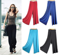 Pants Women Bootcut Wholesale - Women Wide Leg Loose Flared Palazzo Gaucho Pants Long Elastic Waist M0646