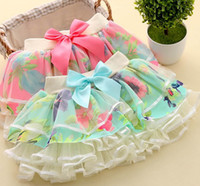 Pleated baby girl dressess - Baby girls tutu pettiskirt Pleated skirt floral printing skirts girls s short dress Gauze dressess Ballet skirt girls princess skirts