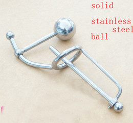 Male Stainless steel solid ball Catheter Cage CHASTITY DEVICE BONDAGE SOUND SM Fetish urethra sounds insert into urethra stretch urethra