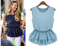 Cheap Plus Size Brand Style 2014 Summer New European Women Peplum Blouses Rufflus Vintage Tops Casual Pullover Chiffon Bottom Clothing