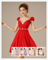 Reference Images Scoop Chiffon 2014 New Arrival Scoop Rhinestone Sequins Short Sleeve Short Graduation Dresses Ruffles Chiffon Lace Up Prom Dress Homecoming Party Dresses
