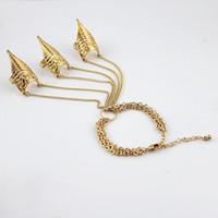 Wholesale Designer jewelry bijoux women vintage individual punk style gold color alloy spike long chain bracelet sets