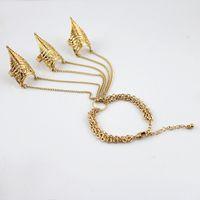 al por mayor pulseras de joyería bisutería-Juegos de diseñadora de joyas bijoux mujeres vintage estilo punk color oro aleación espiga larga cadena pulsera