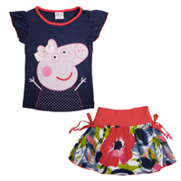 Girl Summer Short nova 2014 new and hot items kids clothing sets peppa pig shirt navy summer tops and floral tutu skirts girls suits KM4616