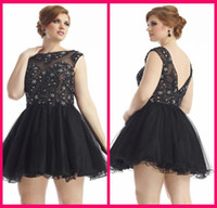 Wholesale Cheap Crew A Line Plus Size Black Tulle Backless Beading Graduation Dress Homecoming Crystal BeadingParty Gowns