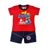 Cheap Wholesale 4 sets lot 2014 New Fashion Boys Summer Clothing Set Thoms Cartoon Two Pieces Set High Quality Red&Blue Color In Stock Items