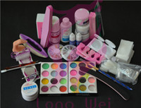 UV Gel Nail Art Set No NAT-008 Free Shipping Drop Shipping Pro Full Acrylic Glitter Powder Glue French Nail Art 500Pcs Tip Brush Kit Set