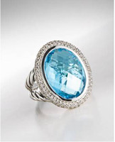 Wholesale R230 x22mm Large Oval Blue Topaz Ring Silver Jewelry Design Jewellery