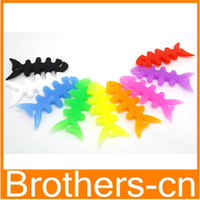 Wholesale Silicone Rubber Fish Bone Earphone Cable Wire Cord Organizer Holder Winder for Iphone s s Samsung s4 s5 MP3 Headphone