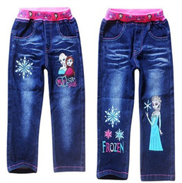 Wholesale Hot Sale Summer New Children Girls Trousers Frozen Elsa Anna Cartoon Kids Girl Printing Blue Denim Long Pants Childs Clothes G0323
