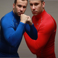 Men Polo Tops 2013 new Sexy corset fitness training speed drying clothes long sleeved T-shirt