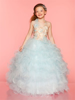 Reference Images Girl Sequins Princess Beauty Ball Gowns Halter Sequin Bodice and Natural Waistline with Beaded Flowers Little Girls Pageant Frock Girl's Pageant Dresses