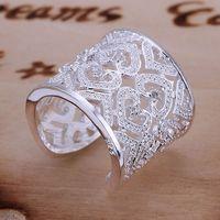 Anillos de plata Baratos-Venta al por mayor anillo de plata 925, 925 joyería de plata, con incrustaciones de Multi-Corazón del anillo plateado-abierta / besajvzasn